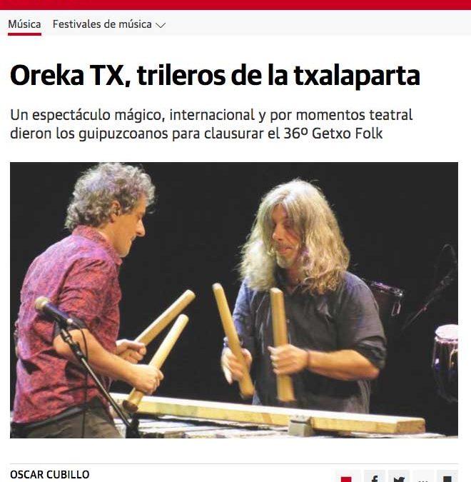 Oreka TX cierra la 36º edición de Getxo Folk